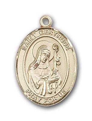 14K Gold St. Gertrude of Nivelles Pendant
