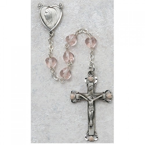 Sterling Silver 6X6MM Pink Heart Rosary