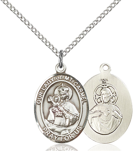 Sterling Silver Our Lady of Mount Carmel Pendant