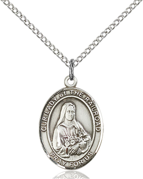Sterling Silver Our Lady of the Railroad Pendant