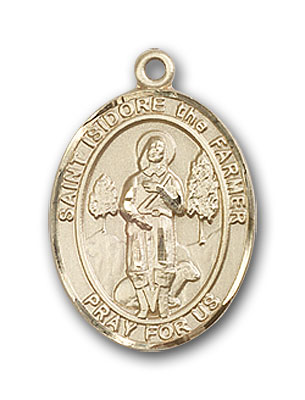 14K Gold St. Isidore the Farmer Pendant