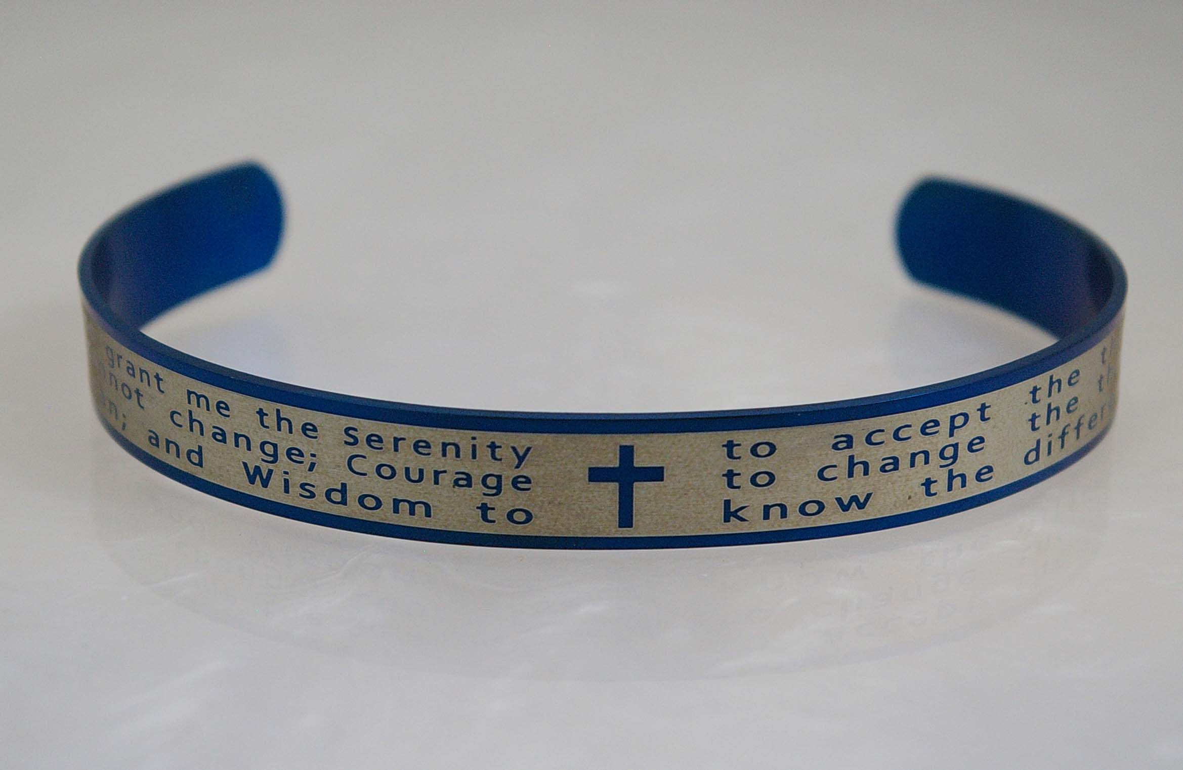 Serenity Prayer Bangle Bracelet - Blue