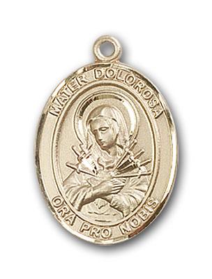 14K Gold Mater Dolorosa Pendant