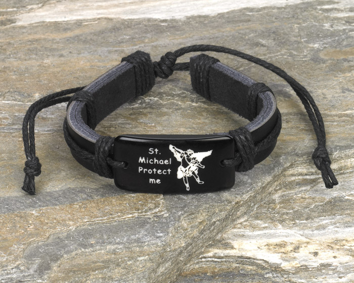 12-Pack - St Michael- Black Leather Bracelet
