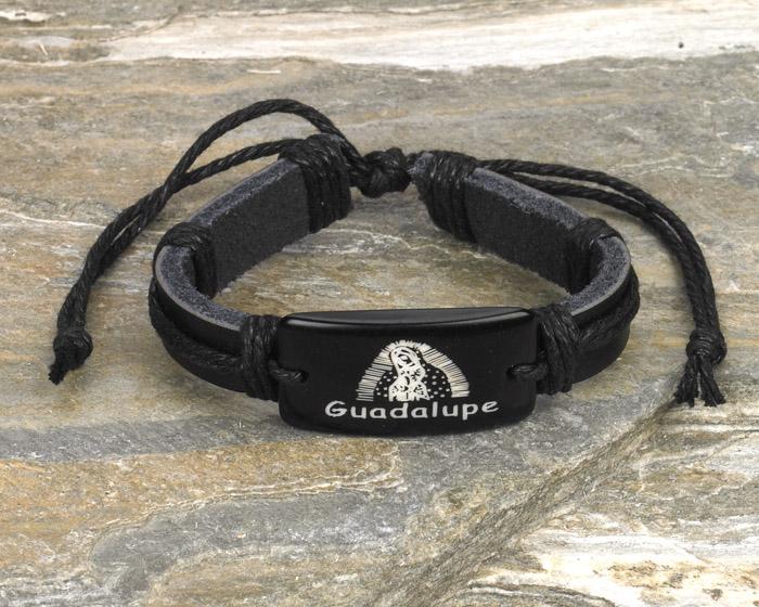12-Pack - Guadalupe- Black Leather Bracelet