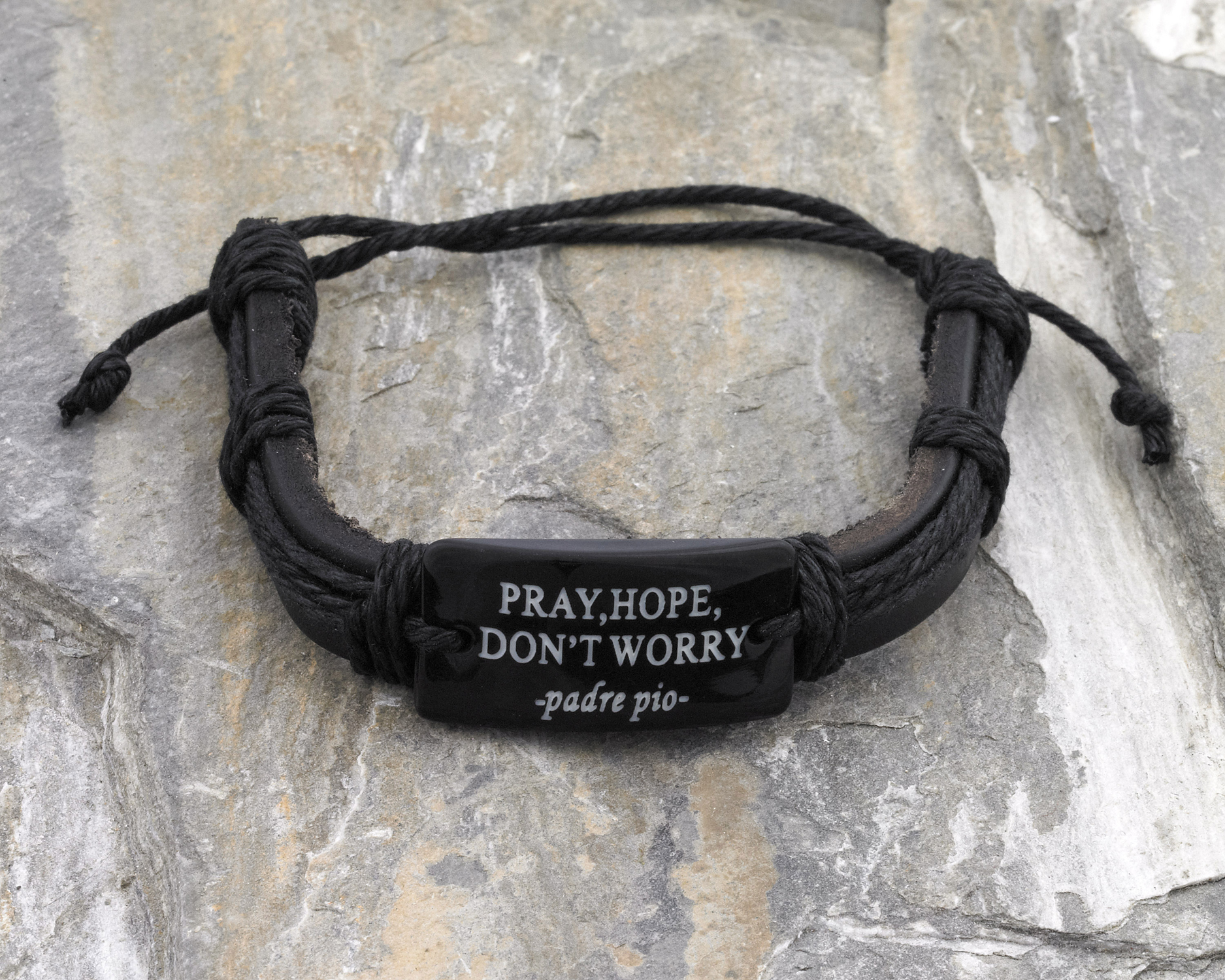 12-Pack - Pray, Hope- Black Leather Bracelet