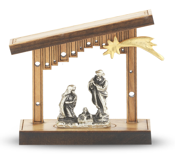 """1 1/2"""" Laser Cut Olive Wood Nativity Standing Plaque"""
