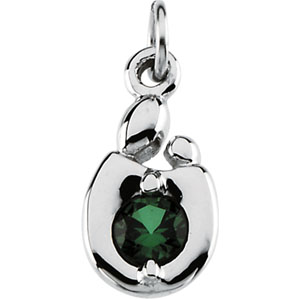 14K White Gold Mother & Child May Birthstone Charm