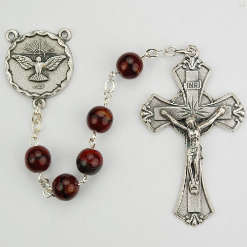 7MM Holy Spirit Red/Black Rosary