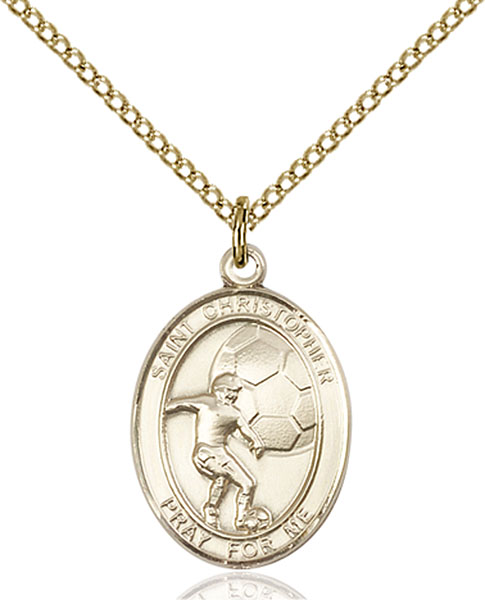 Gold-Filled St. Christopher Soccer Pendant