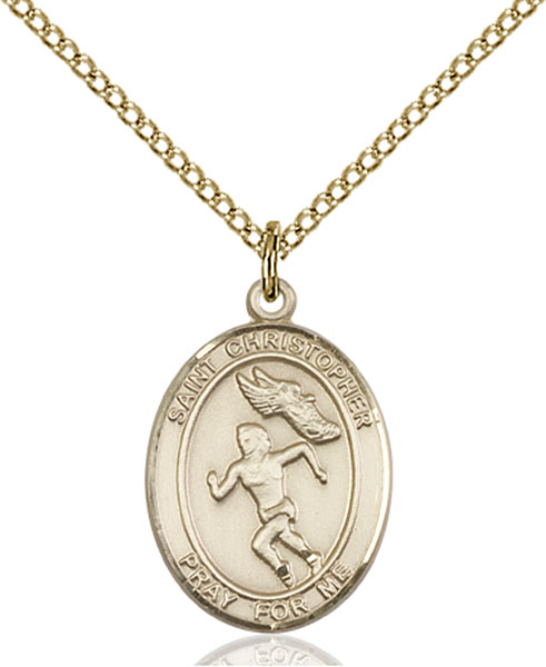 Gold-Filled St. Christopher Track&Field Pendant