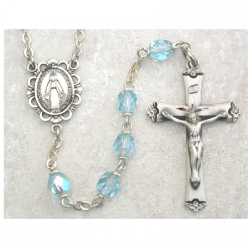 Sterling Silver 6MM Aqua/March Rosary