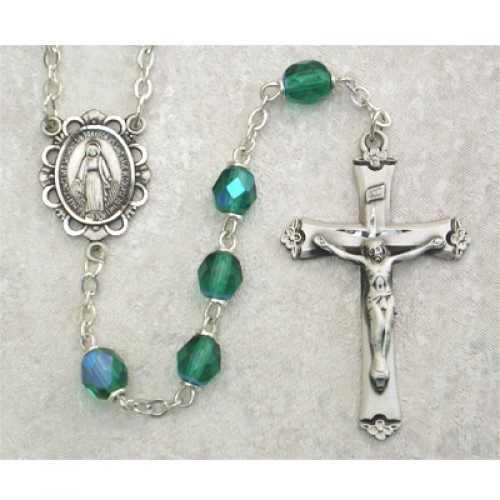 Sterling Silver 6MM Emerald/May Rosary