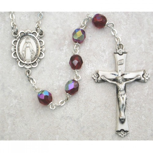 Sterling Silver 6MM Garnet/January Rosary