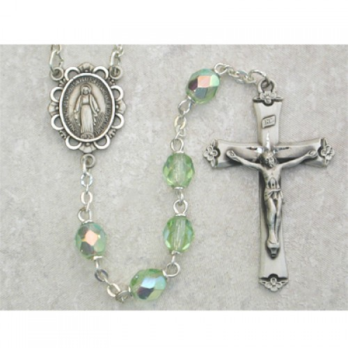 Sterling Silver 6MM Peridot/August Rosary