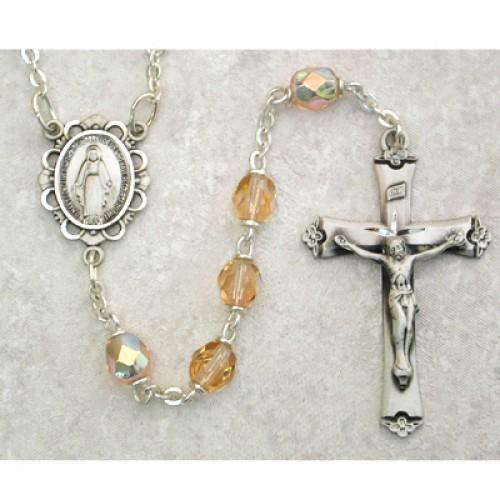 Sterling Silver 6MM Rose/October Rosary