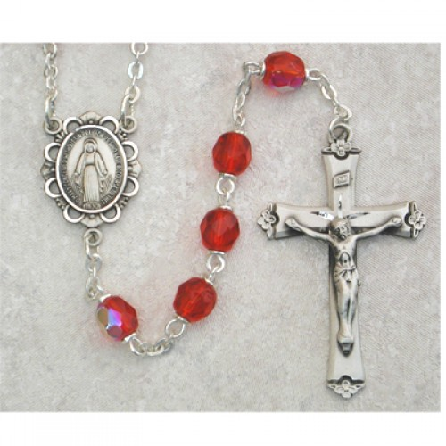 Sterling Silver 6MM Ruby/July Rosary