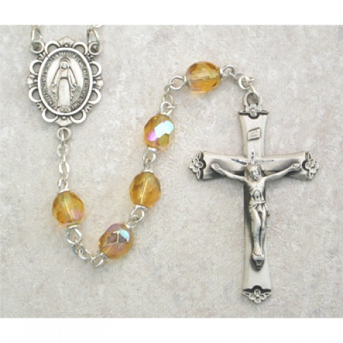 Sterling Silver 6MM Topaz/November Rosary