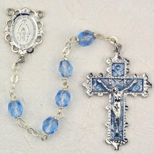 6MM Zircon (Lt Blue) Rosary