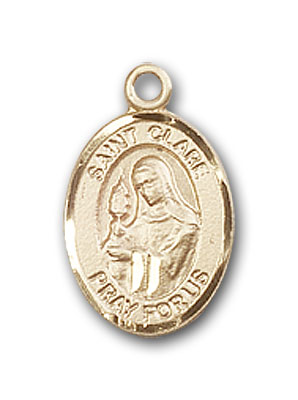 14K Gold St. Clare of Assisi Pendant