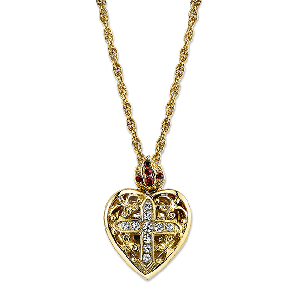 14K Gold-Dipped Crystal Heart Cross Locket Necklace 18