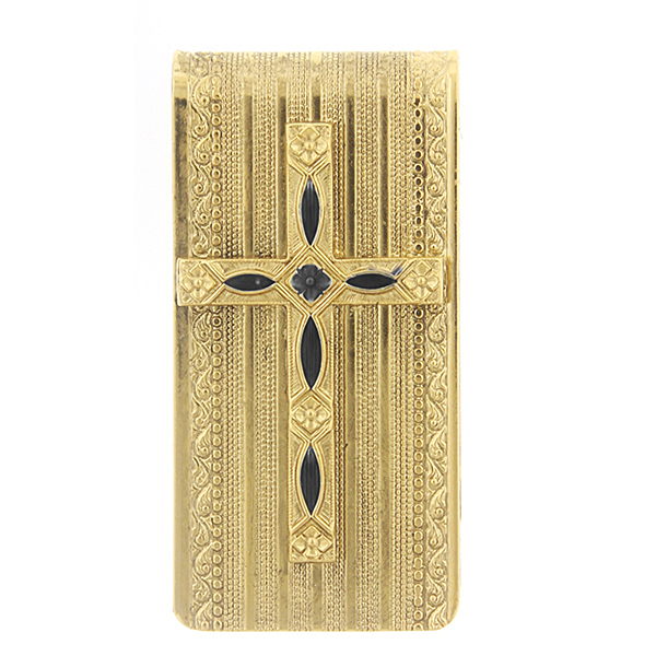 14K Gold-Dipped Black Cross Money Clip