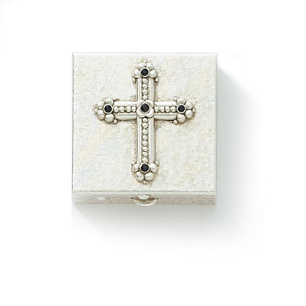 Silver-Tone Black Crystal Cross Pill Box