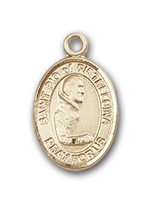 14K Gold St. Pio of Pietrelcina Pendant