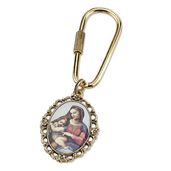 14K Gold-Dipped Enameled Madonna & Child Key Fob