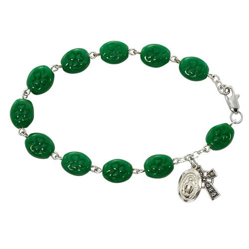 "7 1/2"" Green Shamrock Bracelet"