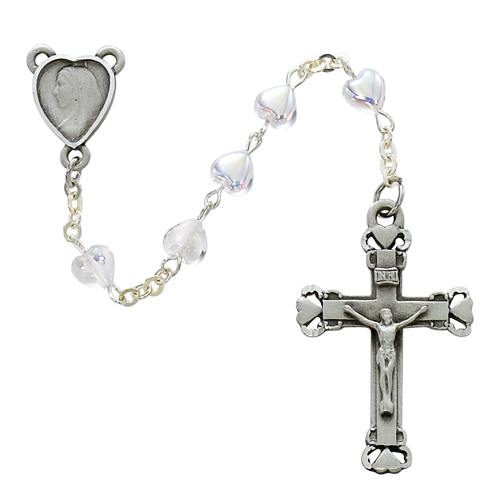 Sterling Silver 6X6MM AB Crystal Heart Rosary