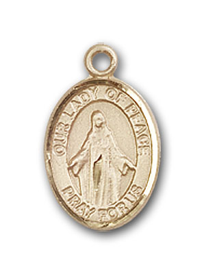 14K Gold OUR LADY of Peace Pendant