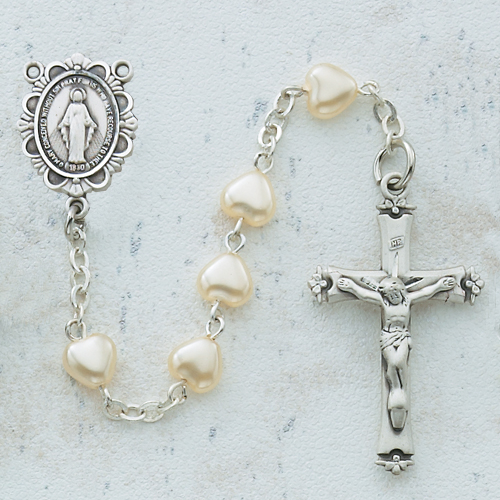 Sterling Silver 6X6MM Pearl Heart Rosary