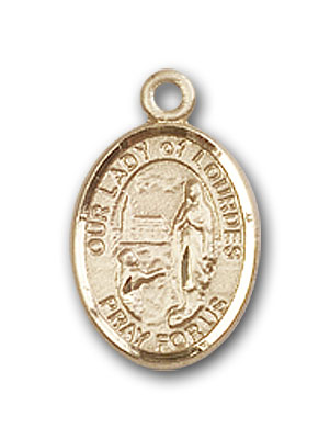 14K Gold OUR LADY of Lourdes Pendant