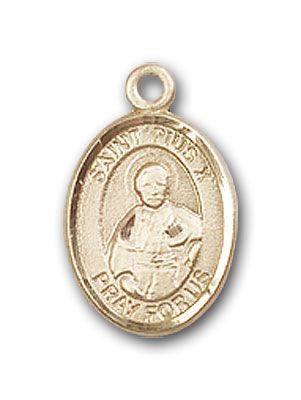 14K Gold St. Pius X Pendant