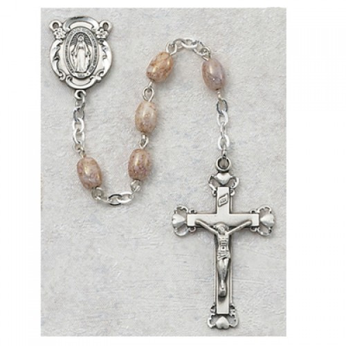 4X6MM Pink Oval Glass Rosary
