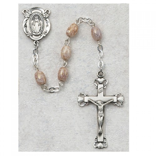 Sterling Silver Oval Pink Glass Rosary
