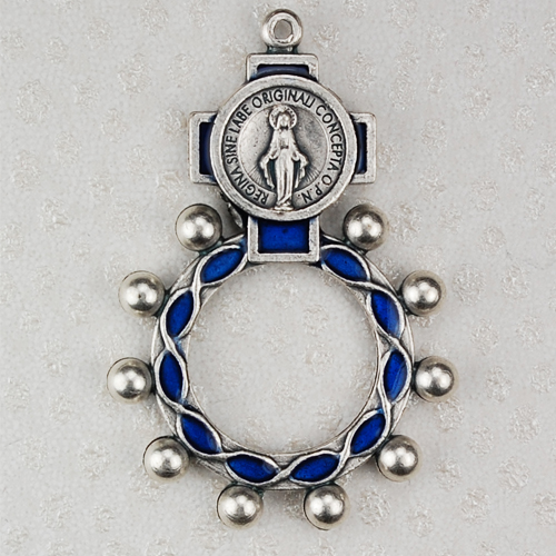 Blue Miraculous Rosary Ring