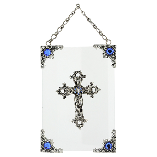 Silver-Tone and Blue Crystal Hanging Glass Wall or Window Plaque