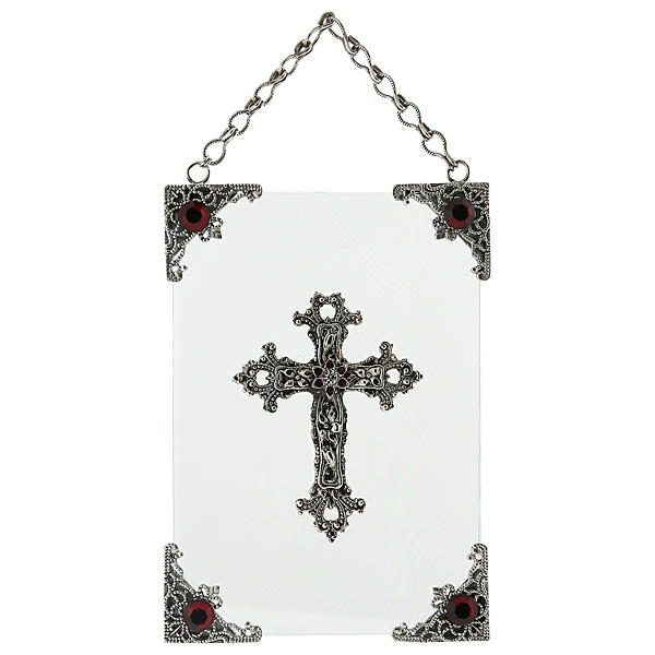 Silver-Tone and Red Crystal Hanging Glass Wall or Window Plaque