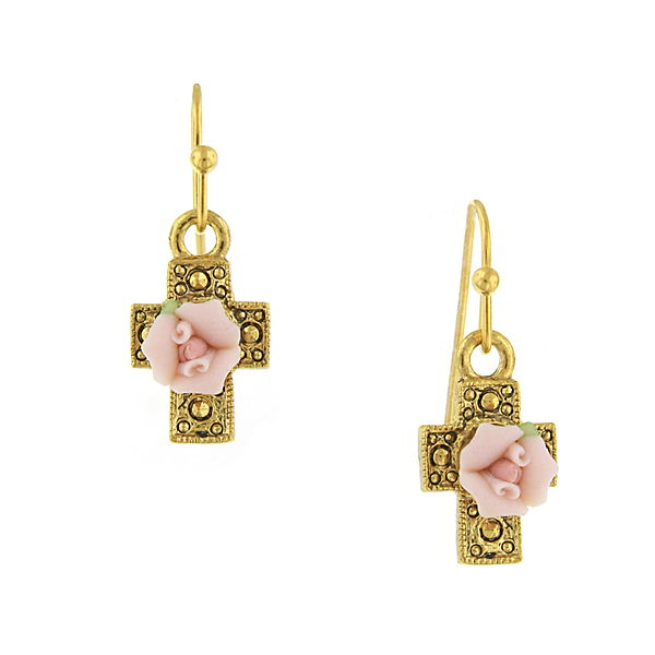 Gold-Tone Pink Porcelain Rose Cross Earrings