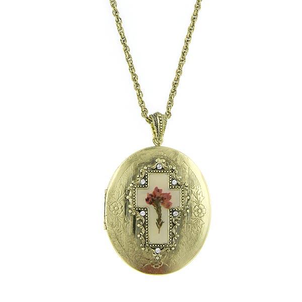 Gold-Tone Cross Flower Oval Locket Necklace 32