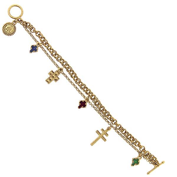 Gold-Tone Blue, Red, & Green Enamel Multiple Cross Charm Bracelet