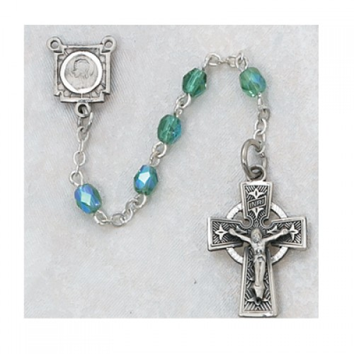 Sterling Silver 4MM Green Celtic Rosary
