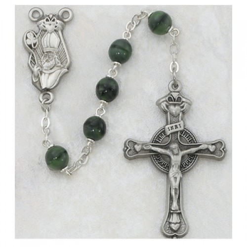 Sterling Silver 7MM Green St Patrick Rosary