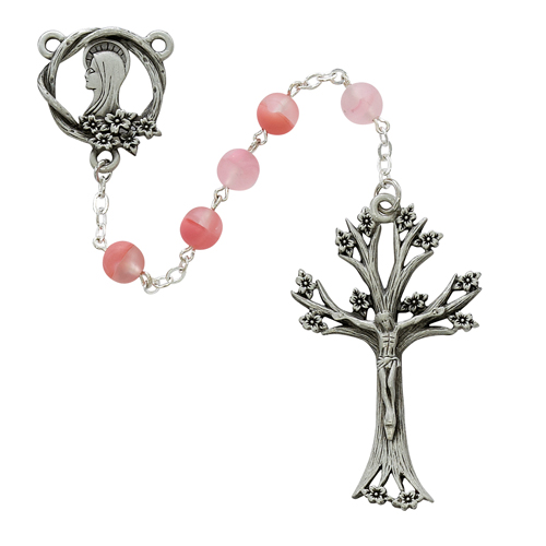 7MM Rose Glass Dogwood Rosary