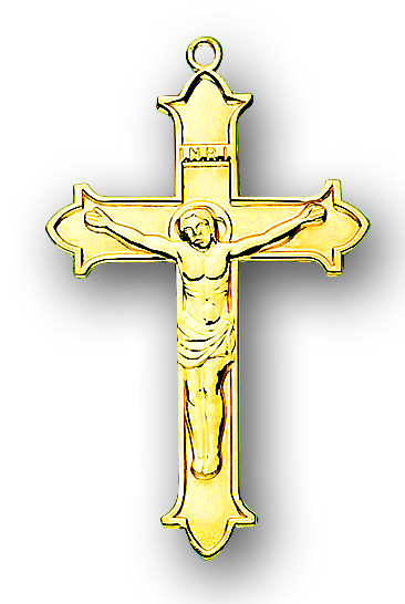 """1 7/16"""" Solid 14kt. Gold Crucifix with 14kt. Jump Ring Boxed"""