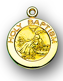 "3/4"" Solid 14kt. Gold Holy Baptism Medal with 14kt. Jump Ring Boxed"