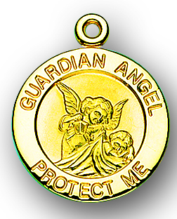"13/16"" Solid 14kt. Gold Round Guardian Angel Medal with 14kt. Jump Ring Boxed"
