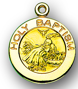 """13/16"""" Solid 14kt. Gold Round Baptism Medal with 14kt. Jump Ring Boxed"""